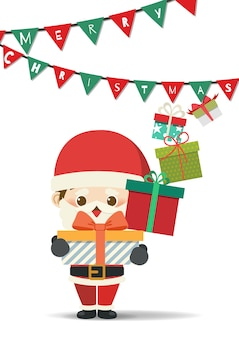 메리 크리스마스 선물을주는 작은 산타 클로스.