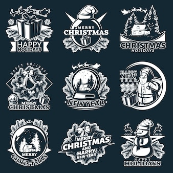 Merry christmas logo set