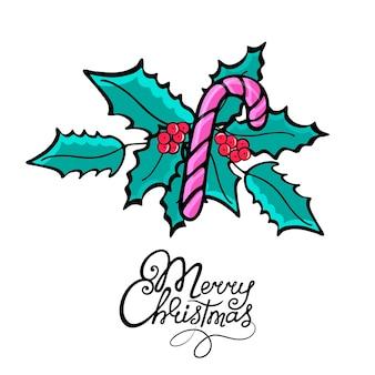 メリークリスマス。落書きスタイルのロリポップ。手描きの年末年始のmistletoeグリーティングカード。