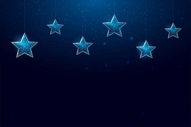 Merry christmas  low poly banner. polygonal wireframe mesh illustration with hanging christmas stars. abstract modern 3d vector illustration on dark blue background.