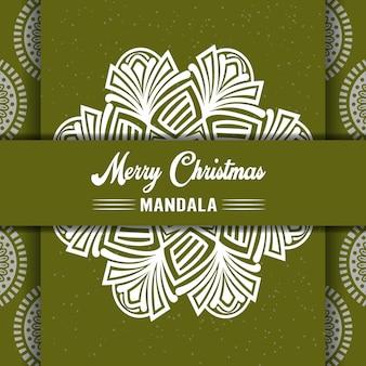 С рождеством христовым фон мандалы с декоративными поздравлениями и с новым годом абстрактный дизайн