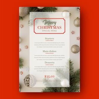 写真付きメリークリスマスメニューテンプレート