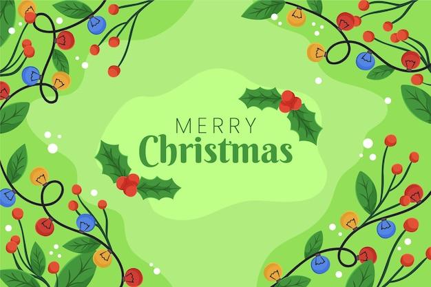 緑の背景にメリークリスマスメッセージ