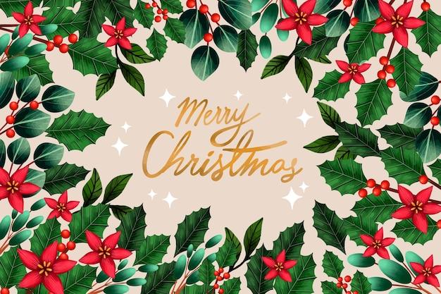С рождеством христовым омела и листья фон