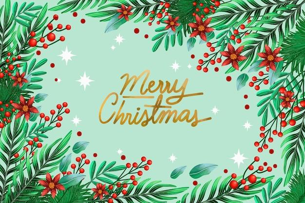 С рождеством христовым омела фон