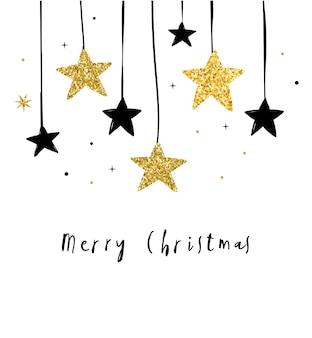 メリークリスマス-黒と金の星、花輪が付いたモダンでクリーンなグリーティングカード