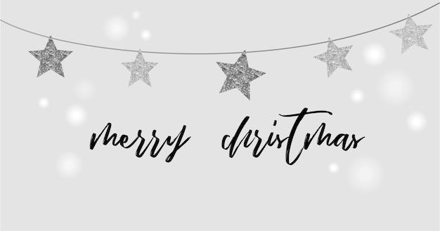メリークリスマス-黒と銀の星、花輪が付いたモダンでクリーンなグリーティングカード
