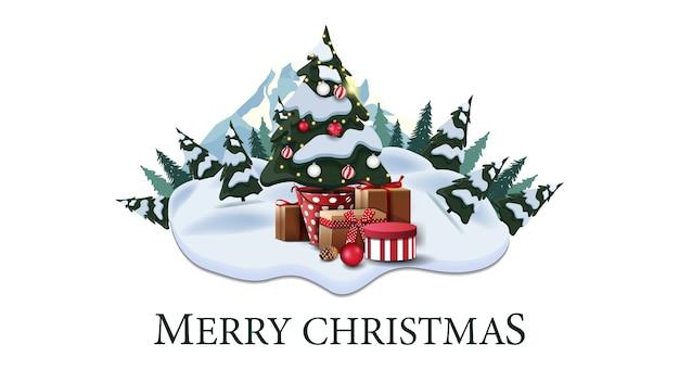 С рождеством, современная открытка с соснами, сугробами, горой и елкой в горшке с подарками