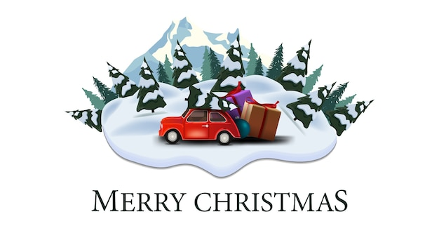 Merry christmas, modern postcard with pines, drifts, mountain and red vintage car carrying christmas tree