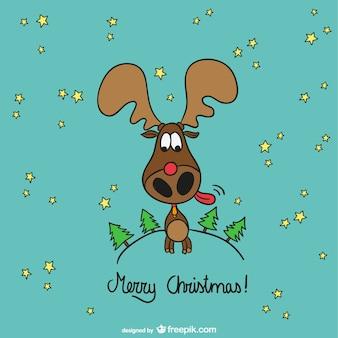 Merry christmas moose cartoon