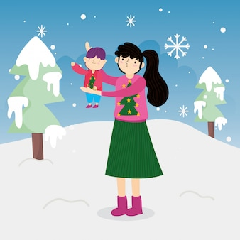 작은 아들 나무 눈 야외 들고 메리 크리스마스 어머니