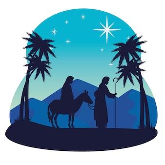 Merry christmas nativity mary on donkey joseph and palm trees design, winter season and decoration