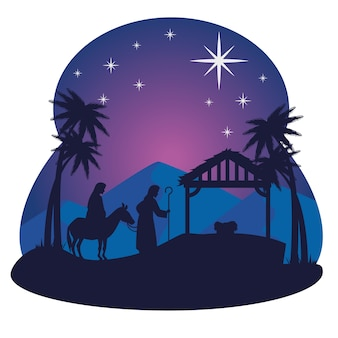Merry christmas nativity mary joseph baby and hut design, winter season and decoration