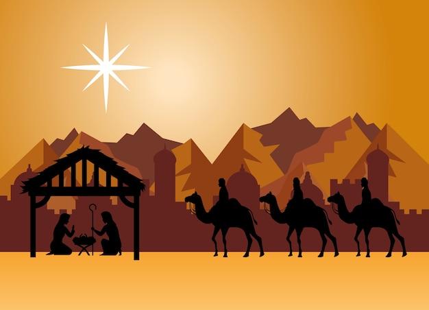 Merry christmas nativity mary joseph baby and three wise men at desert design, winter season and decoration