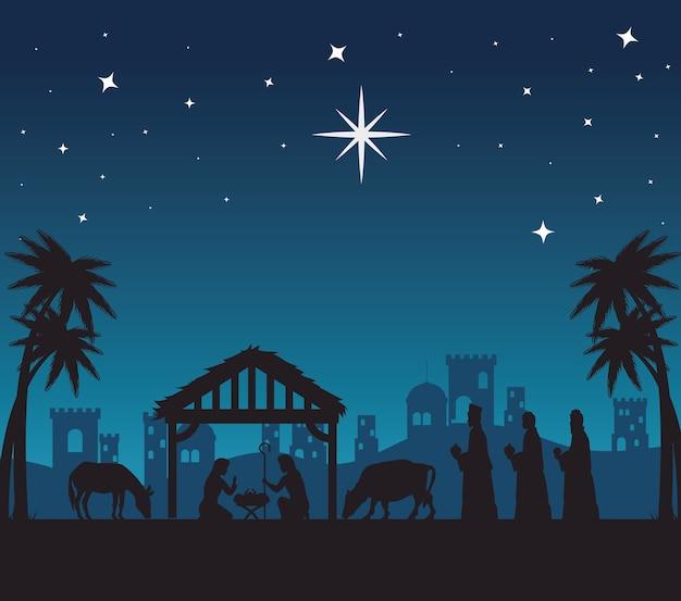 Merry christmas nativity mary joseph baby and three wise men at night design, winter season and decoration