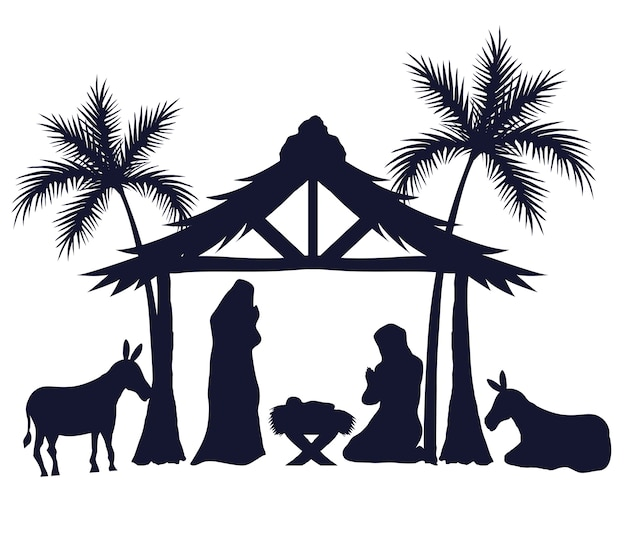 Merry christmas and nativity set icons silhouettes design, winter season and decoration theme