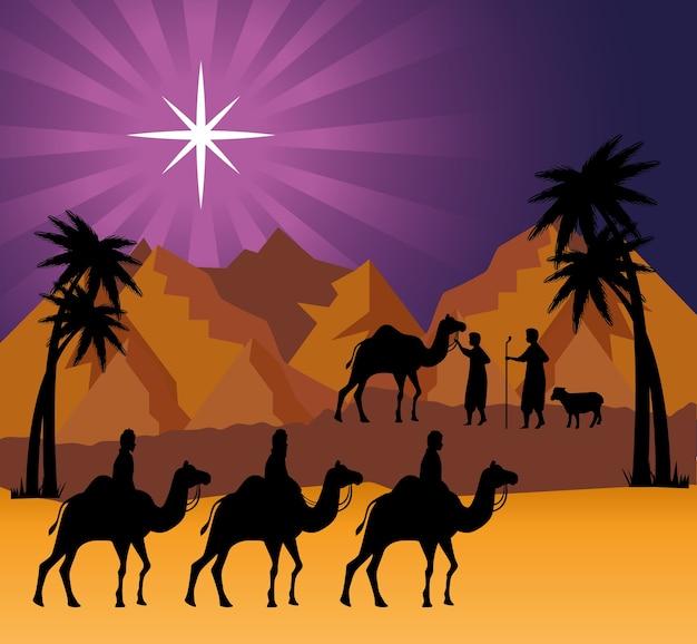 Merry christmas nativity three wise men at desert design, winter season and decoration