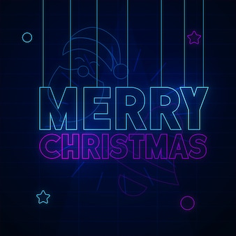 Merry christmas neon background design