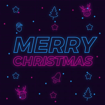 Merry christmas neon background