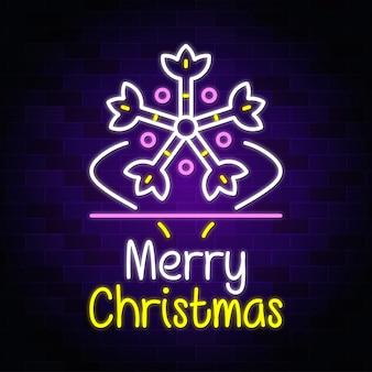 Merry christmas neon design, neon text sign vector -