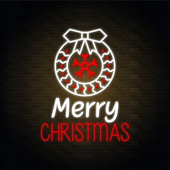 Merry christmas neon design vector - red and white floral design vector