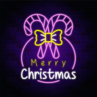 Merry christmas neon design with candy cane premium vector