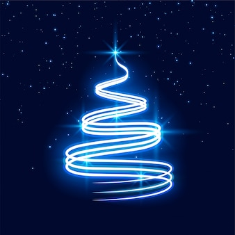 Merry christmas neon festival tree background