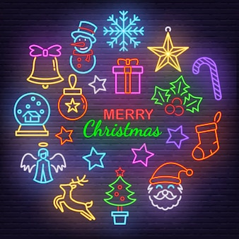Merry christmas neon icons