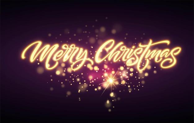 메리 크리스마스 네온 글자. 크리스마스 인사말 기호입니다. 메리 크리스마스 황금 네온 빛 검은 배경에 고립. 크리스마스 붓글씨 텍스트입니다. 엽서, 배너 디자인 요소입니다. 벡터 일러스트 레이 션