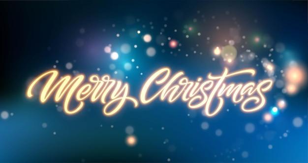С рождеством христовым неоновые надписи. рождественский приветственный знак. с рождеством христовым золотой неоновый свет на черном фоне. рождественский каллиграфический текст. открытка, элемент дизайна баннера. векторная иллюстрация