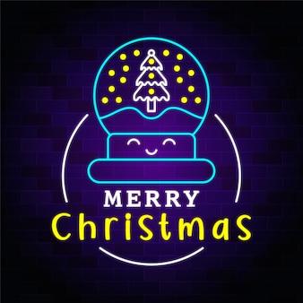 Merry christmas neon lighting with christmas icon premium