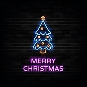 メリークリスマスネオンサイン。デザインテンプレートネオンスタイル