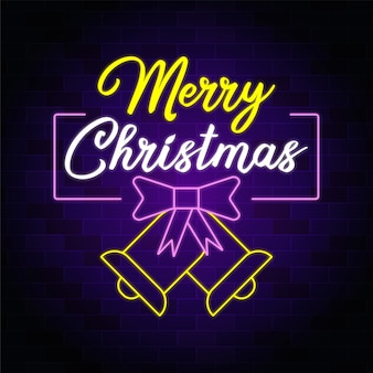 Merry christmas neon sign with christmas bow tie and bell