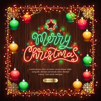 Merry christmas neon sign with colorful lights on wood