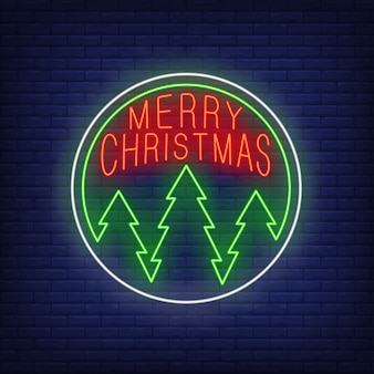 Merry christmas in neon style