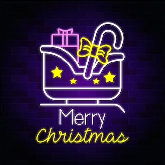 Merry christmas neon text sigh with christmas shopping gifts vector