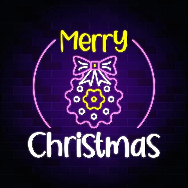 クリスマスの弓のネオンと花とメリークリスマスネオンテキスト-ネオンサインバナーと背景プレミアム