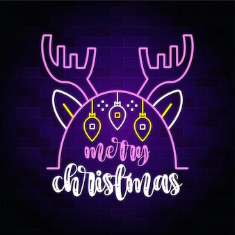 Merry christmas neon text with christmas deer - neon sign banner and background