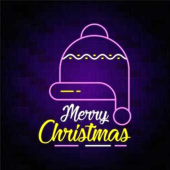 Счастливого рождества неоновый текст с - неоновая вывеска баннер и фон