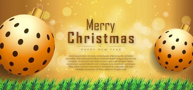 現実的なクリスマスの要素プレミアムベクトルとメリークリスマスの新しい背景バナー