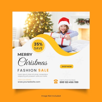 Merry christmas new fashion sale social media post or web banner design template