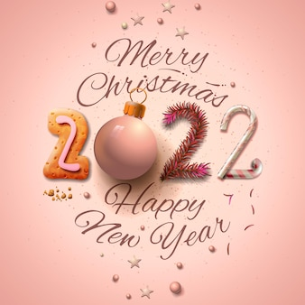 Merry christmas and new year 2022 card with elegant decoration vector illustration