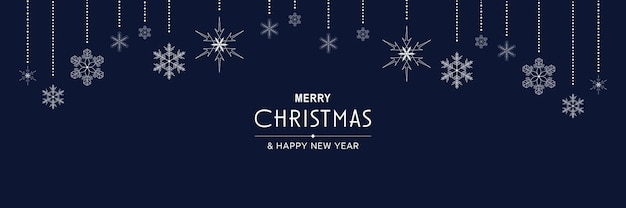 Merry christmas and new year 2022 poster xmas minimal banner design with hanging snowflakes