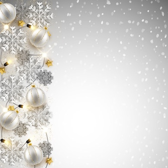 Merry christmas new year background design, decorative baubles