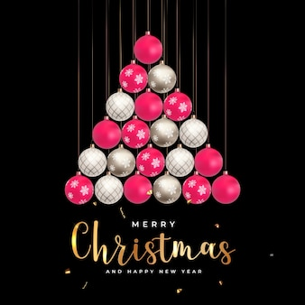 Merry christmas and new year background vector illustration