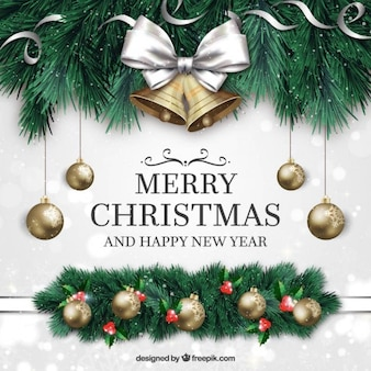 Merry christmas and new year background with ornaments in realistic style