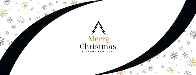 Merry christmas and new year banner in flat elegant style