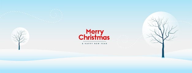 Merry christmas and new year banner with beautiful winter snowy landscape