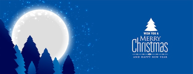 Merry christmas and new year banner with night landscape with full moon