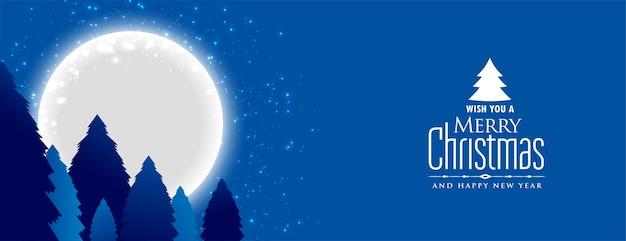 Buon natale e anno nuovo banner con paesaggio notturno con la luna piena